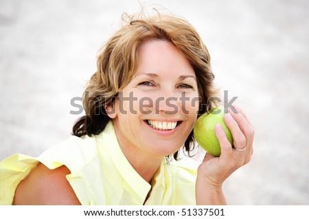 Beautiful healthy mature woman - stock photo