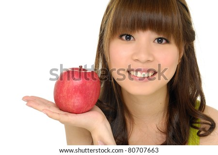 beautiful healthy serene girl with apple