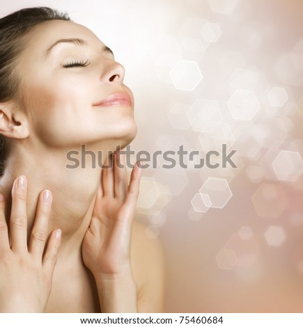 Beautiful Healthy Woman Face - stock photo