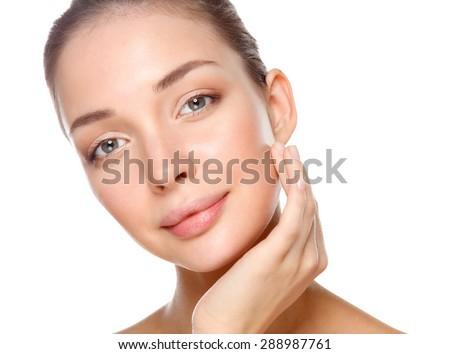 Beautiful healthy woman touching her skin. - stock photo