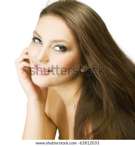 Beautiful Healthy Young Woman.Perfect skin - stock photo