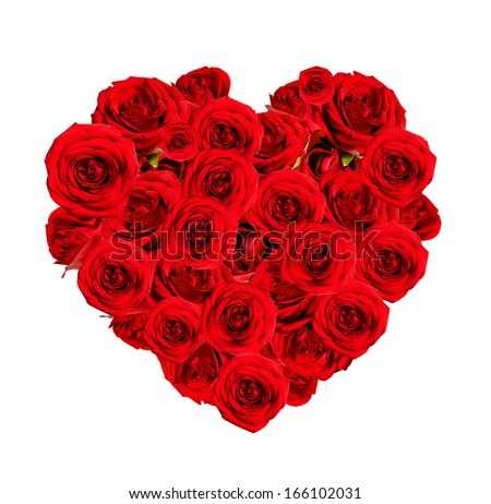 Beautiful heart made of red roses on white background - stock photo