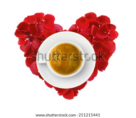 beautiful heart of red rose petals and cup of coffee isolated on white - stock photo