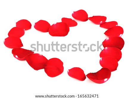 Beautiful heart of red rose petals. On a white background