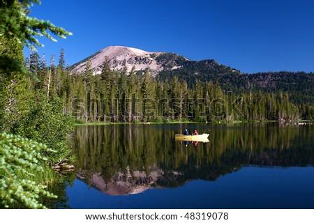 Beautiful high mountain alpine lake in summer - stock photo