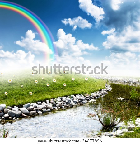 beautiful hill valley reflection on stream surface - stock photo