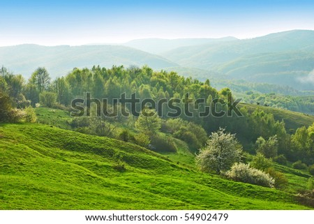 Beautiful hills with forest and haze in the distance - stock photo