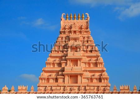 Beautiful hindu temple architecture in India - stock photo