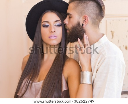 Beautiful hipster couple loving each other deeply and truely.