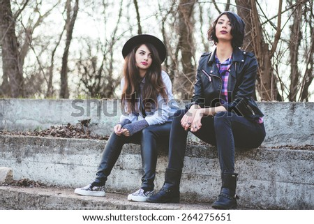 Beautiful hipster girls - stock photo