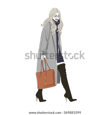 Beautiful hipster young  women in a fashion gray jacket and black boots with heels. Hand drawn fashion illustration. - stock photo