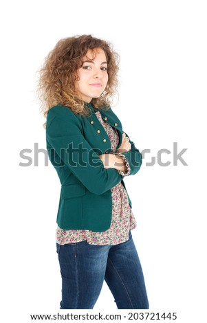 Beautiful Hispanic woman doing different expressions in different sets of clothes: arms crossed