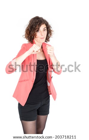 Beautiful Hispanic woman doing different expressions in different sets of clothes: boxing