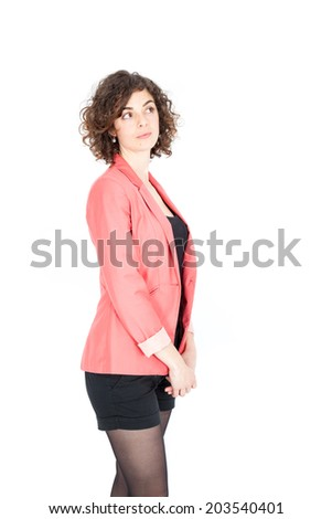 Beautiful Hispanic woman doing different expressions in different sets of clothes: posing