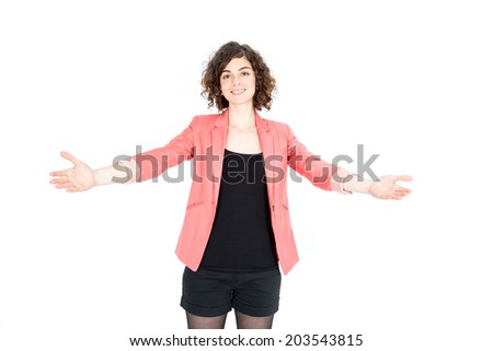 Beautiful Hispanic woman doing different expressions in different sets of clothes: welcome - stock photo