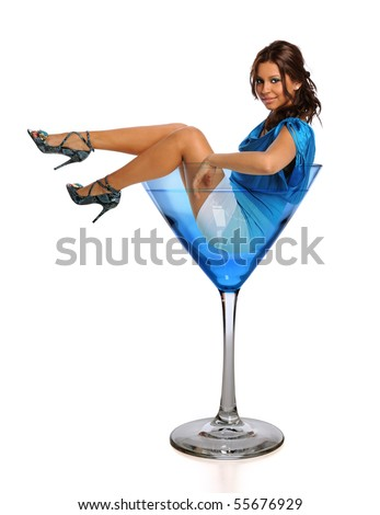 Beautiful Hispanic woman in martini glass isolated over white background - stock photo