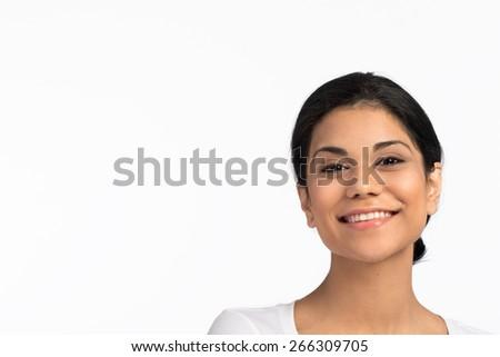 Beautiful Hispanic woman smiling.  - stock photo