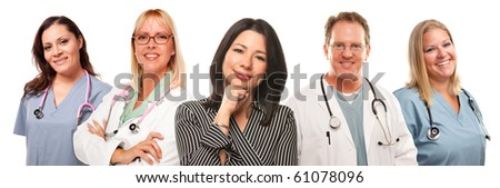Beautiful Hispanic Woman with Male and Female Doctors or Nurses Isolated on a White Background. - stock photo