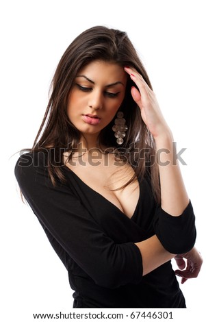 Beautiful hispanic woman with strong headache, isolated on white background - stock photo