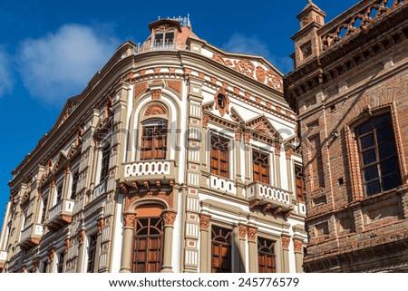 Beautiful historic architecture in Cuenca, Ecuador - stock photo