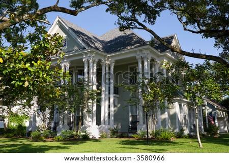 beautiful, historic mansion in small Louisiana town - stock photo