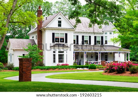 Beautiful historic, traditional home in Marietta, Georgia - stock photo