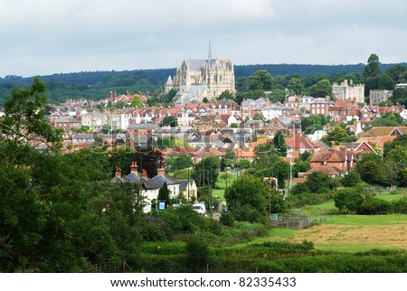 Beautiful historical town of Arundel in West Sussex, Great  Britain - stock photo
