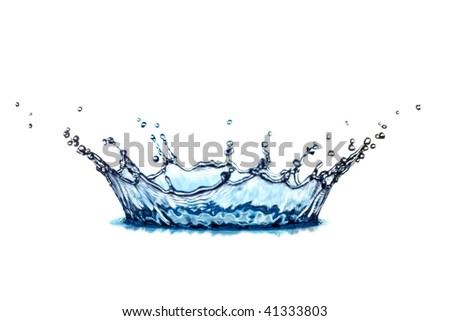 beautiful hits of blue water on white background - stock photo