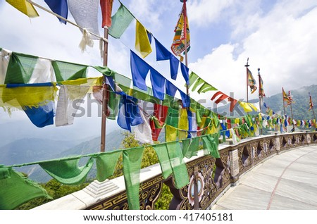Beautiful Holy Flags at Buddha Park, Sikkim, India - stock photo
