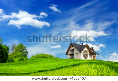 Beautiful home and landscaping - stock photo