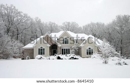 beautiful home in winter - stock photo