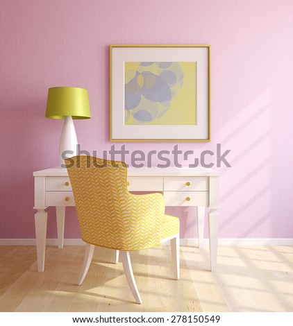 Beautiful home office interior. 3d render. Picture in frame was painted by me. - stock photo