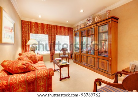 Beautiful home office or library room interior. - stock photo