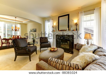 Beautiful home with large living and dining room - stock photo