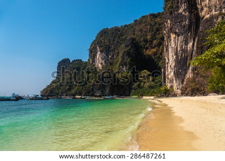 Beautiful Hong island in Krabi province in Thailand which is a popular spot for snorkeling among tourists. - stock photo