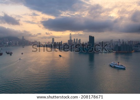 Beautiful Hong Kong skyline at sunset