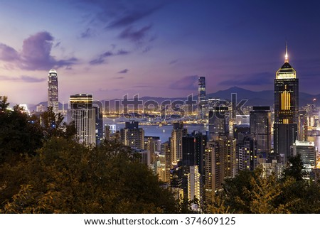 Beautiful HongKong cityscape at night