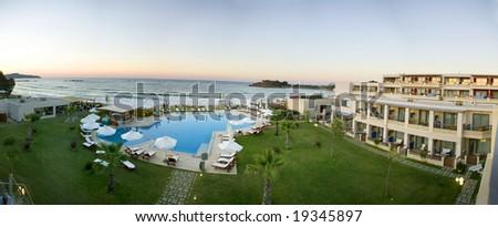 Beautiful hotel in Crete - stock photo