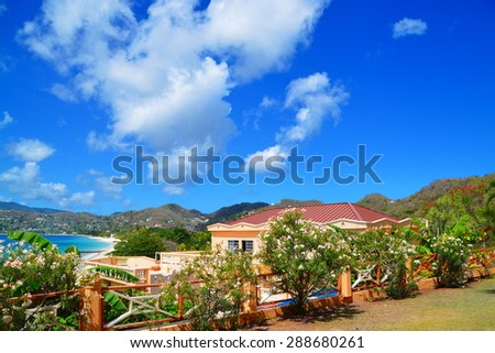 Beautiful hotel resort over grand anse beach, grenada - stock photo