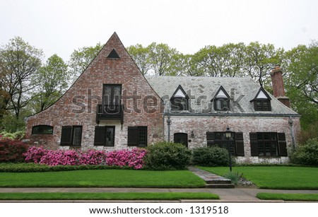beautiful house and landscaping - stock photo