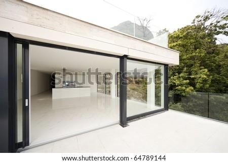 beautiful house, balcony - stock photo