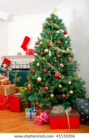 Beautiful house decorated with Christmas ornaments - stock photo