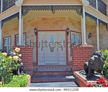 beautiful house entrance - stock photo