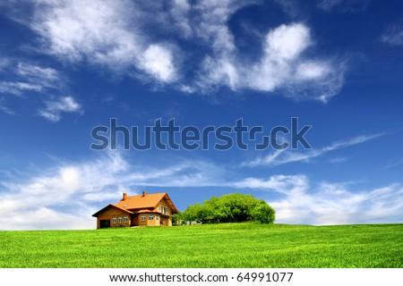 Beautiful house in the ecological environment - stock photo