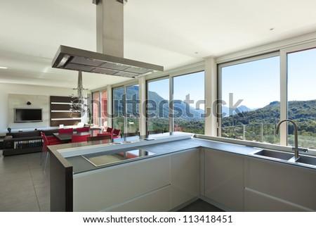 beautiful house inside, modern style, kitchen - stock photo