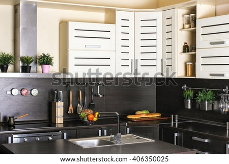 Beautiful house, modern kitchen interior - stock photo