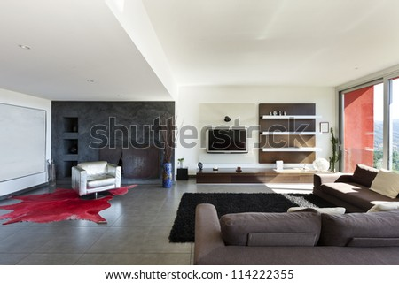 beautiful house, modern style, living room - stock photo