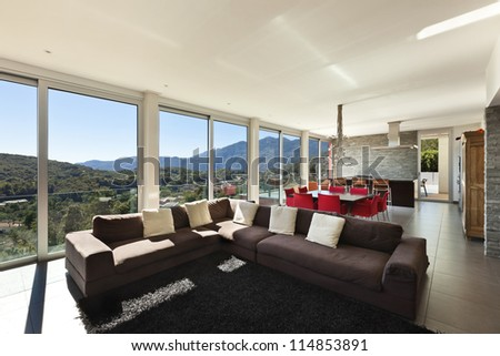 beautiful house, modern style, living room - stock photo