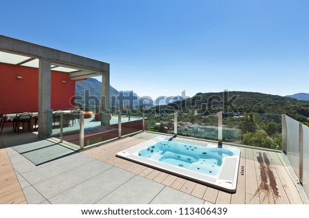 beautiful house, modern style, view from the patio - stock photo