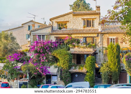 Beautiful house of French Provence at sunset